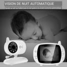Vidéo Babyphone Sans Fil 300 Mètres avec écran 3,5 Pouces, VOX, Vision Nocturne, Communication Bidirectionnelle, Capteur de Température, Berceuses, Rechargeable