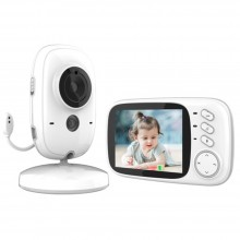 Babyphone Caméra Vidéo sans Fil 3,2 Pouces Visiophone Bébé Caméra Surveillance Bébé avec Ecran Couleur LCD Talkie Walkie Vision Nocturne Berceuses Intégrées et Thermomètre